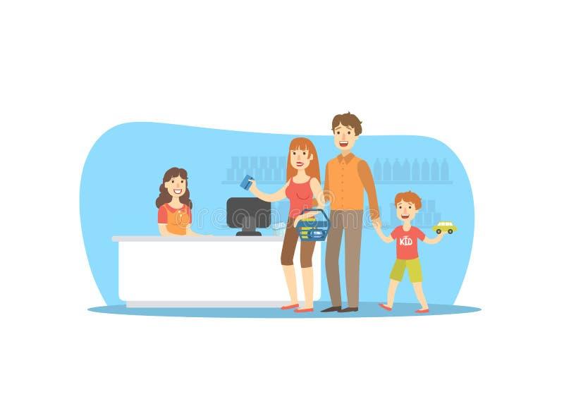 Ευτυχής οικογένεια που ψωνίζει στην υπεραγορά, χαμογελώντας λιανικός ταμίας γυναικών, μητέρα που πληρώνει για τις αγορές με το δι απεικόνιση αποθεμάτων