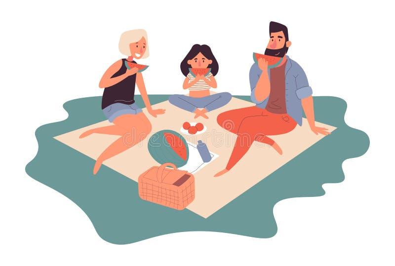 Ευτυχής οικογένεια σε ένα πικ-νίκ Ο μπαμπάς, mom, ο γιος και η κόρη στηρίζονται στη φύση r διανυσματική απεικόνιση