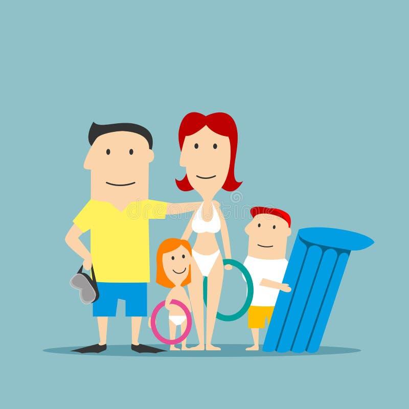 Ευτυχής οικογένεια σε swimwear στις θερινές διακοπές διανυσματική απεικόνιση