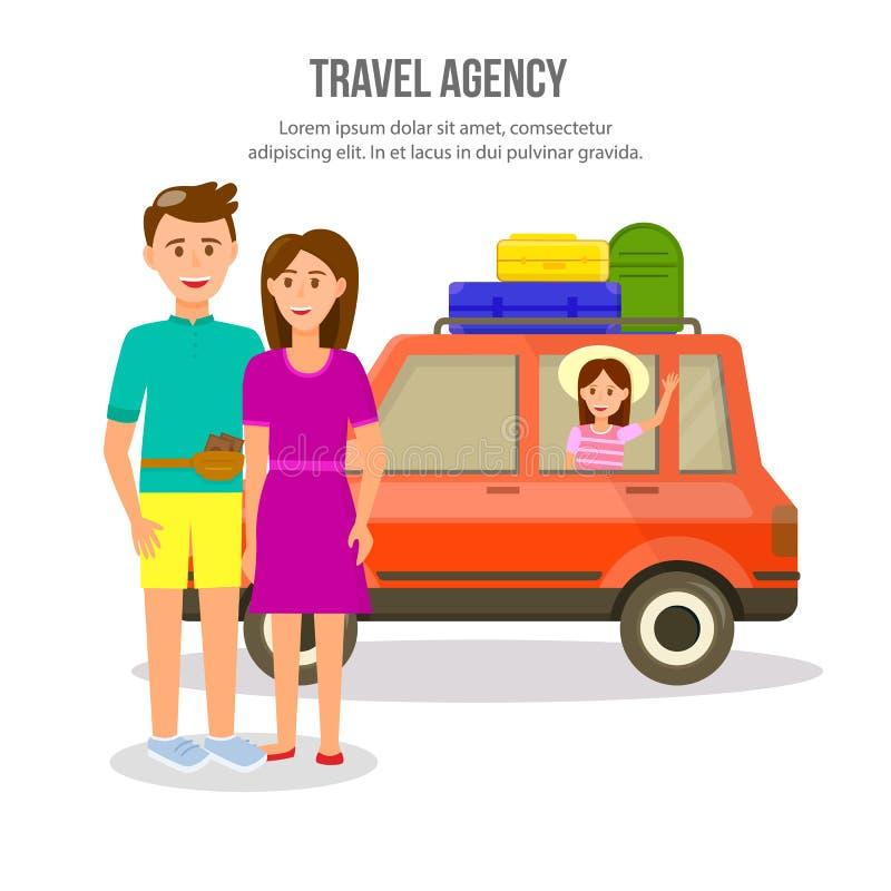 Ευτυχής οικογένεια του ταξιδιού γονέων και κοριτσιών με το αυτοκίνητο ελεύθερη απεικόνιση δικαιώματος