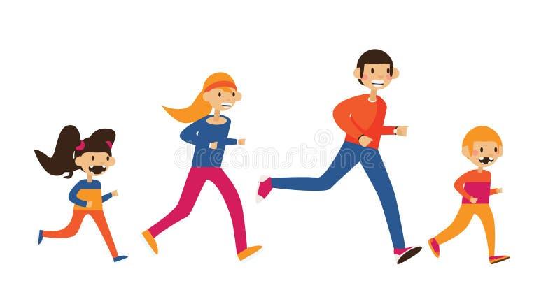 Ευτυχής οικογένεια του mom, μπαμπάς και δύο παιδιά που τρέχουν στα αθλητικά ενδύματα Απομονωμένος στην άσπρη επίπεδη απεικόνιση ελεύθερη απεικόνιση δικαιώματος