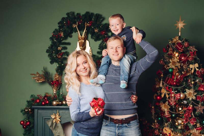 Ευτυχής οικογένεια φωτογραφιών καλής χρονιάς portait στοκ εικόνες