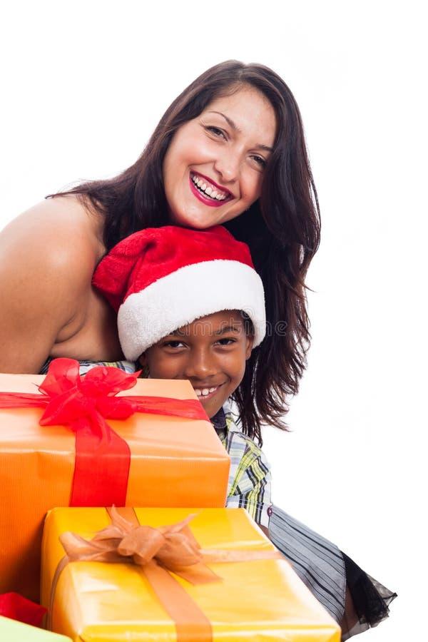 Ευτυχής οικογένεια Χριστουγέννων στοκ εικόνα