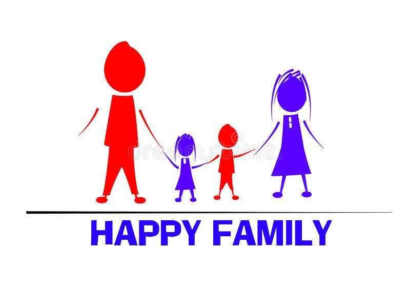 Ευτυχής οικογενειακή απεικόνιση με 2 παιδιά στοκ φωτογραφία με δικαίωμα ελεύθερης χρήσης