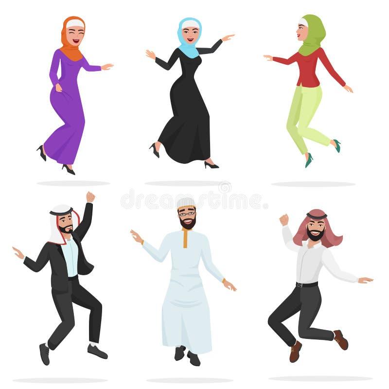 Ευτυχής ομάδα χαριτωμένου αραβικού άλματος ανθρώπων Κινούμενων σχεδίων διανυσματική απεικόνιση χαρακτήρα ανδρών και γυναικών άλμα ελεύθερη απεικόνιση δικαιώματος