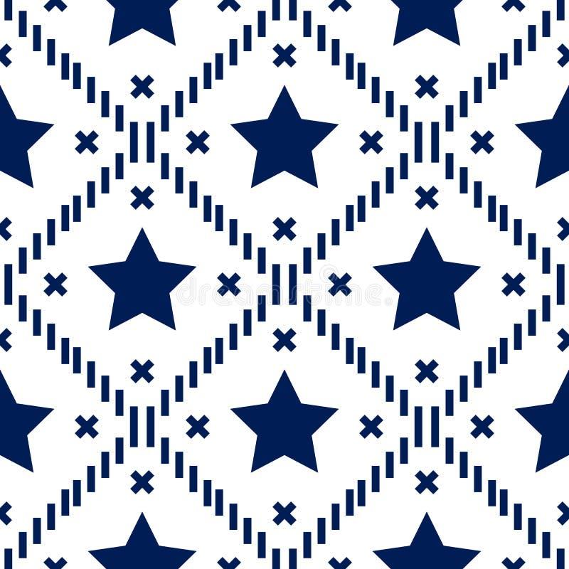Ευτυχής 4ος Ιουλίου, της υπόβαθροης ΑΜΕΡΙΚΑΝΙΚΗΣ ημέρας της ανεξαρτησίας Διανυσματικό άνευ ραφής σχέδιο σημαιών, μπλε λωρίδες αστ απεικόνιση αποθεμάτων