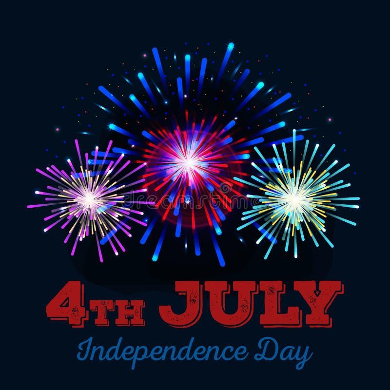 Ευτυχής 4ος της σχέδιοης Ιουλίου, ημέρας της ανεξαρτησίας διανυσματικό, ΗΠΑ απεικόνιση αποθεμάτων