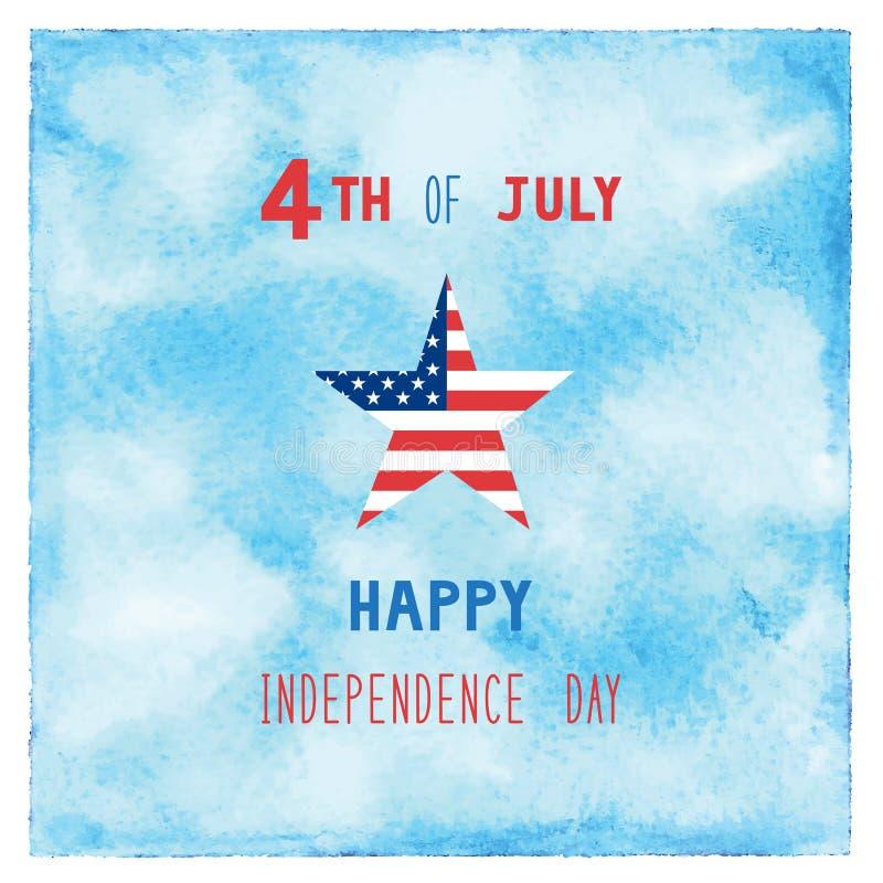 Ευτυχής 4ος του Ιουλίου στο μπλε υπόβαθρο watercolor απεικόνιση αποθεμάτων