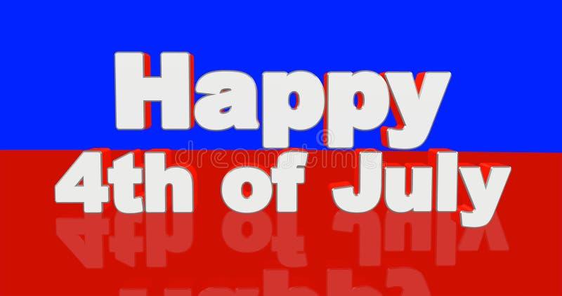 Ευτυχής 4ος του μηνύματος χαιρετισμού Ιουλίου - τρισδιάστατη απεικόνιση σχεδίου διανυσματική απεικόνιση