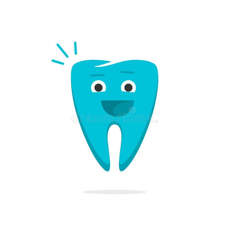 Ευτυχής οδοντικός εύθυμος υγιής δοντιών με το διάνυσμα κινούμενων σχεδίων προσώπου χαμόγελου απεικόνιση αποθεμάτων