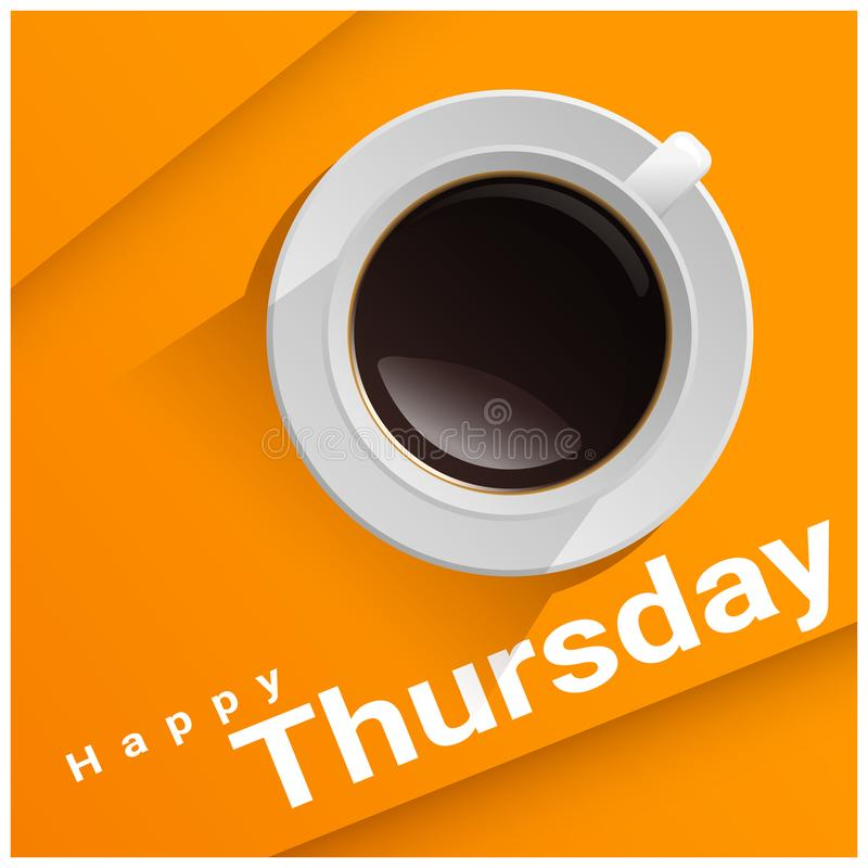 Ευτυχής Πέμπτη με τη τοπ άποψη ενός φλιτζανιού του καφέ στο πορτοκαλί υπόβαθρο ελεύθερη απεικόνιση δικαιώματος