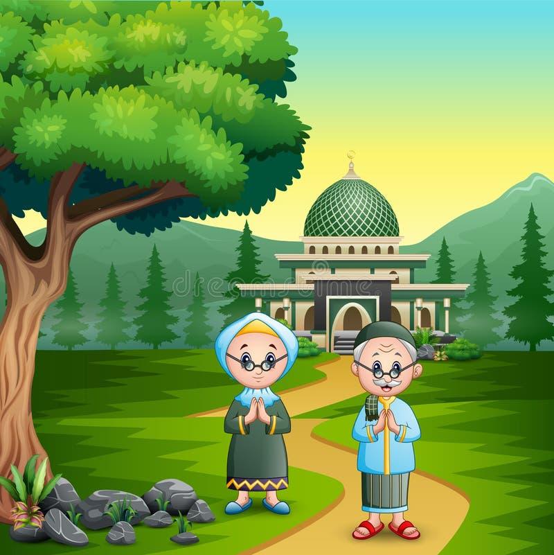 Ευτυχής παλαιός μουσουλμανικός χαιρετισμός ζευγών για το eid Mubarak απεικόνιση αποθεμάτων