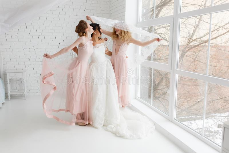 Ευτυχής παράνυμφος που αγκαλιάζει τη νύφη που καλύπτεται από το πέπλο στην κρεβατοκάμαρα το πρωί, που έχει τη διασκέδαση στοκ φωτογραφία με δικαίωμα ελεύθερης χρήσης