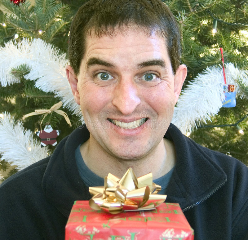 Download ευτυχής παραλήπτης δώρων στοκ εικόνα. εικόνα από χρυσός - 398121