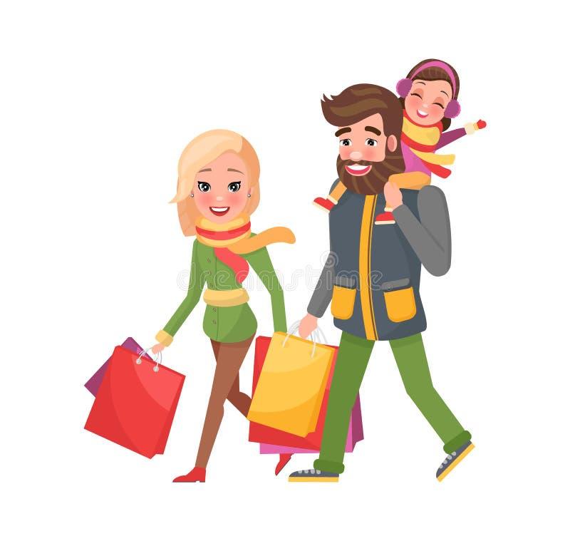 Ευτυχής πατέρας οικογενειακών μητέρων, αγορές Χριστουγέννων κορών απεικόνιση αποθεμάτων