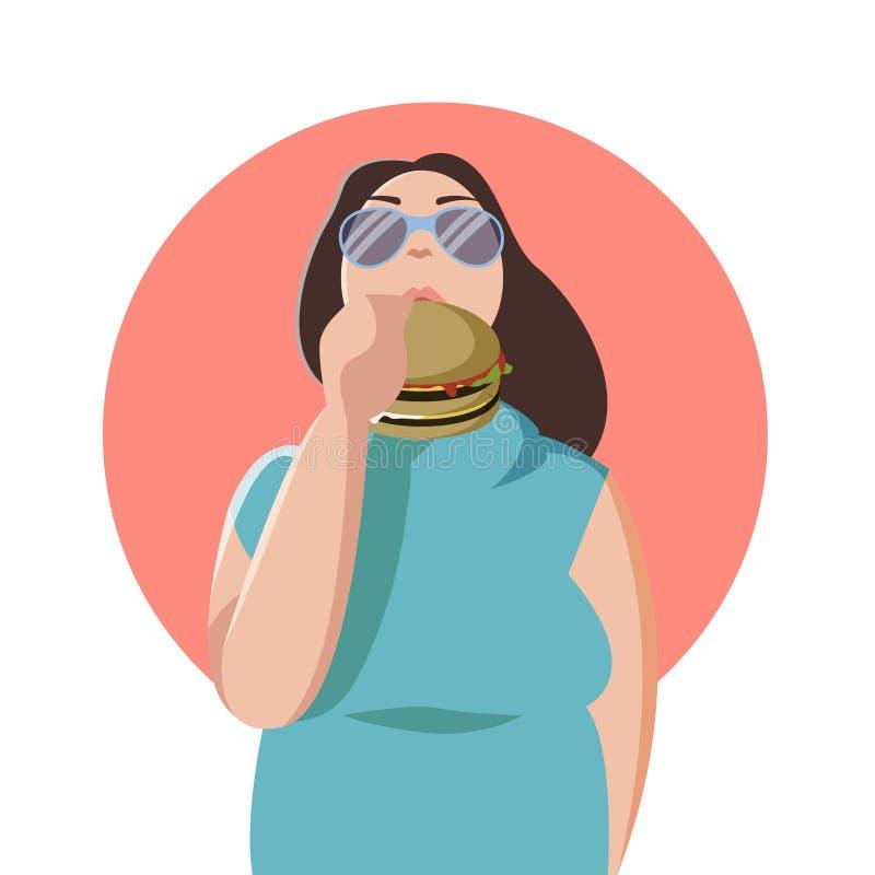 Ευτυχής παχιά γυναίκα που τρώει ένα μεγάλο νόστιμο χάμπουργκερ Επίπεδη απεικόνιση έννοιας των κακών συνηθειών και των ανθρώπων πο ελεύθερη απεικόνιση δικαιώματος