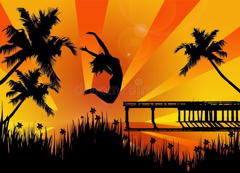 ευτυχής πηδώντας γυναίκα διανυσματική απεικόνιση