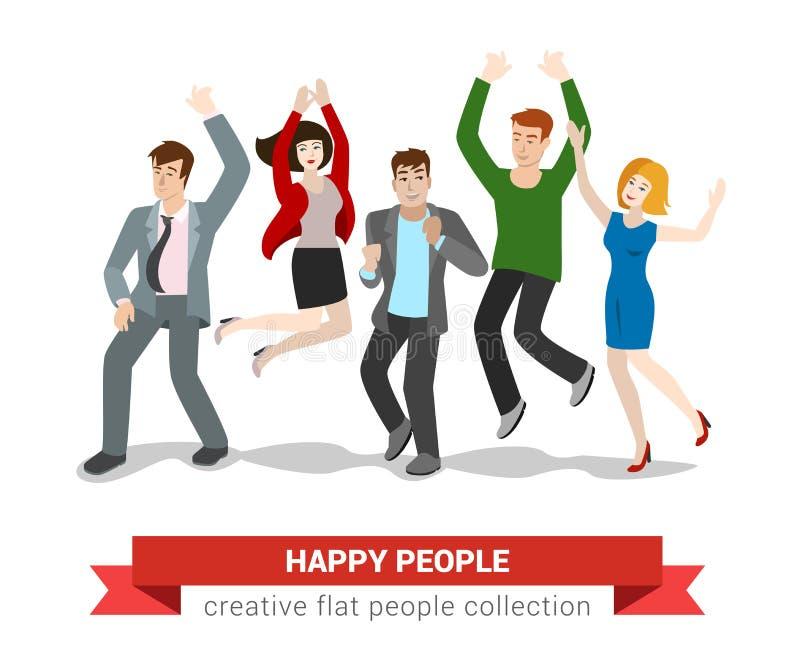 Ευτυχής πηδώντας ομάδα φίλων ανθρώπων στο διανυσματικό επίπεδο διανυσματική απεικόνιση