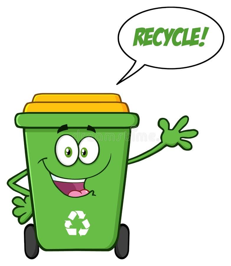 Ευτυχής πράσινος ανακύκλωσης χαρακτήρας μασκότ κινούμενων σχεδίων δοχείων διανυσματική απεικόνιση