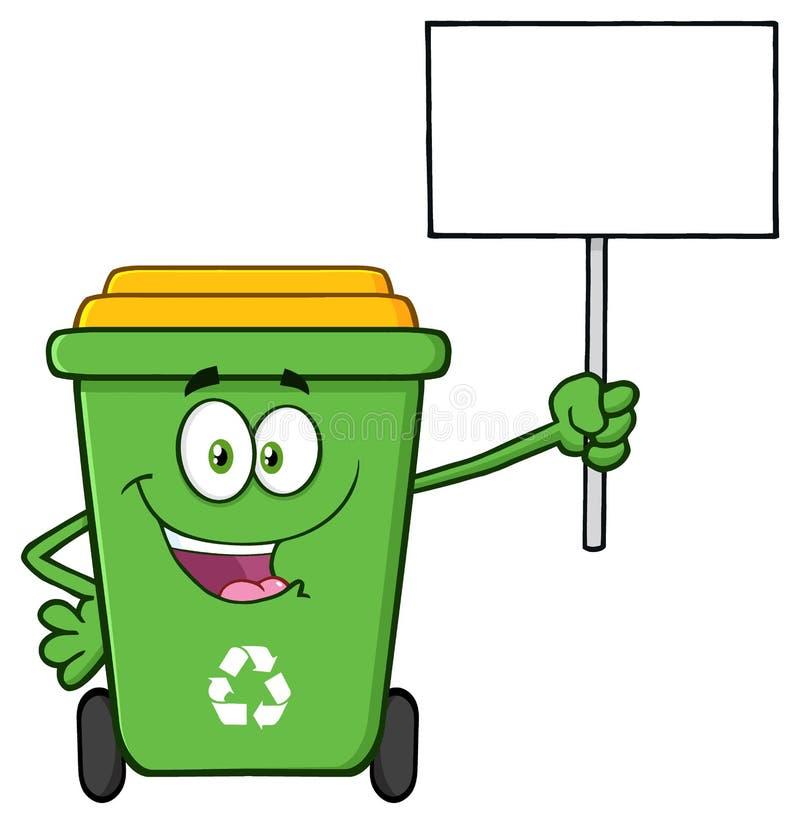 Ευτυχής πράσινος ανακύκλωσης χαρακτήρας μασκότ κινούμενων σχεδίων δοχείων που κρατά ψηλά ένα κενό σημάδι ελεύθερη απεικόνιση δικαιώματος