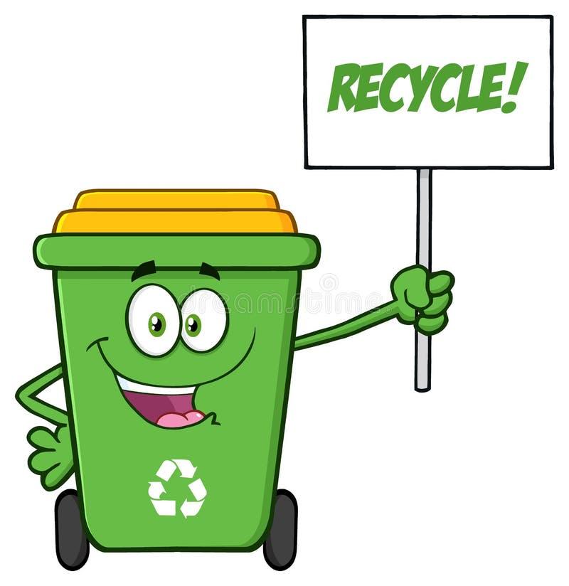 Ευτυχής πράσινος ανακύκλωσης χαρακτήρας μασκότ κινούμενων σχεδίων δοχείων που κρατά ψηλά ένα ανακύκλωσης σημάδι διανυσματική απεικόνιση