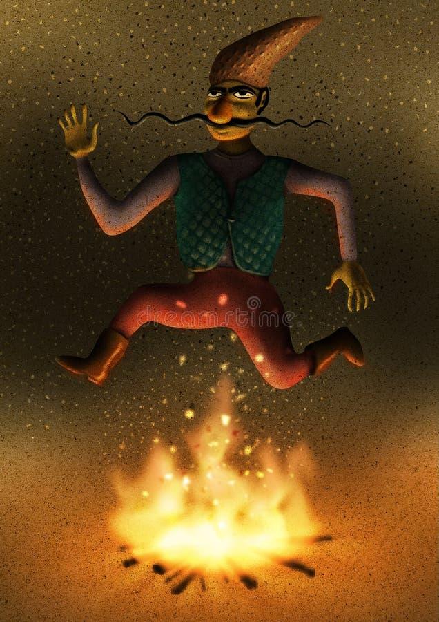 Ευτυχής προσανατολίστε το άτομο που πηδά πέρα από την πυρκαγιά ελεύθερη απεικόνιση δικαιώματος