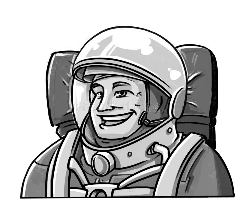 Ευτυχής προσγείωση αστροναυτών κάτω από το ύφος comics στοκ φωτογραφία