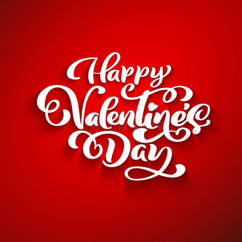 Ευτυχής ρομαντική ευχετήρια κάρτα ημέρας βαλεντίνων, αφίσα τυπογραφίας με τη σύγχρονη καλλιγραφία διανυσματικός τρύγος ύφους απει διανυσματική απεικόνιση