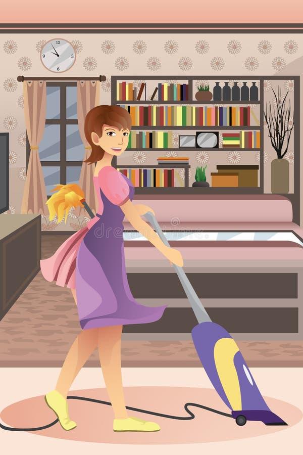 Ευτυχής σκουπίζοντας με ηλεκτρική σκούπα τάπητας γυναικών απεικόνιση αποθεμάτων