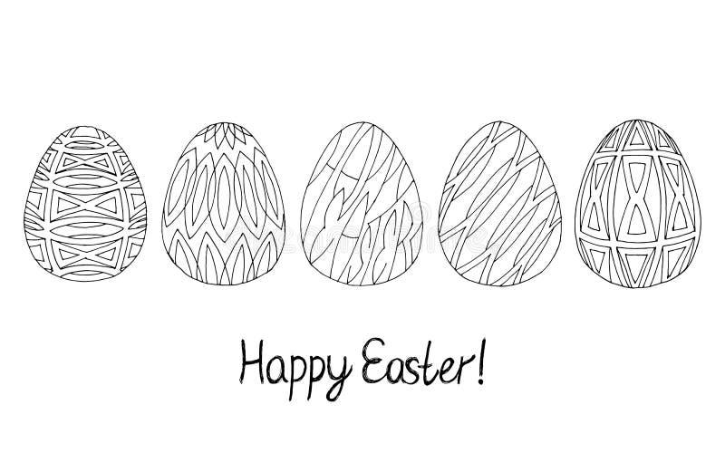 Ευτυχής συλλογή σκίτσων αυγών Πάσχας Ο Μαύρος στην άσπρη ανασκόπηση Σύγχρονο σχέδιο slyle ελεύθερη απεικόνιση δικαιώματος