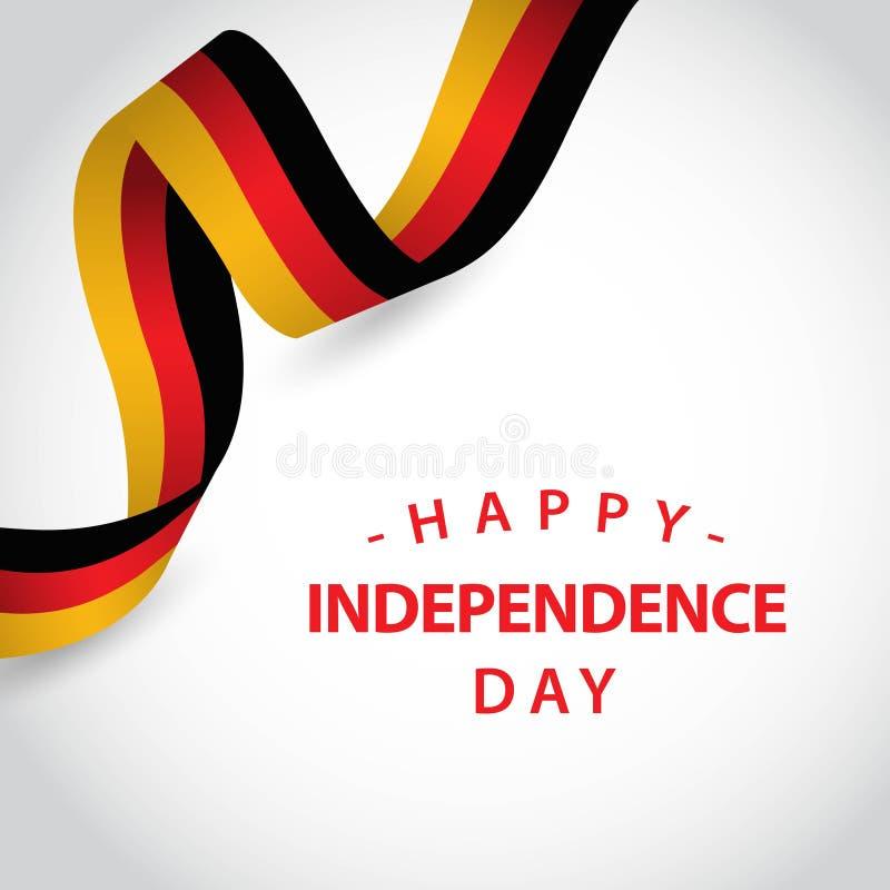 Ευτυχής της Γερμανίας ανεξάρτητη απεικόνιση σχεδίου προτύπων ημέρας διανυσματική ελεύθερη απεικόνιση δικαιώματος