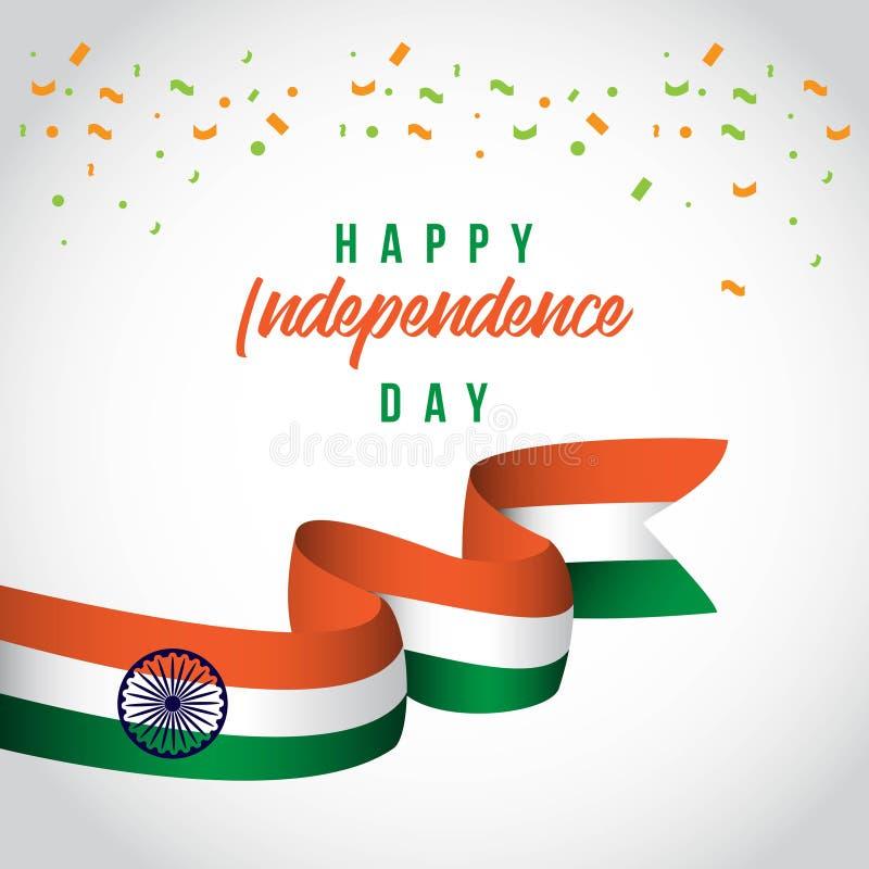 Ευτυχής της Ινδίας ανεξάρτητη απεικόνιση σχεδίου προτύπων ημέρας διανυσματική διανυσματική απεικόνιση