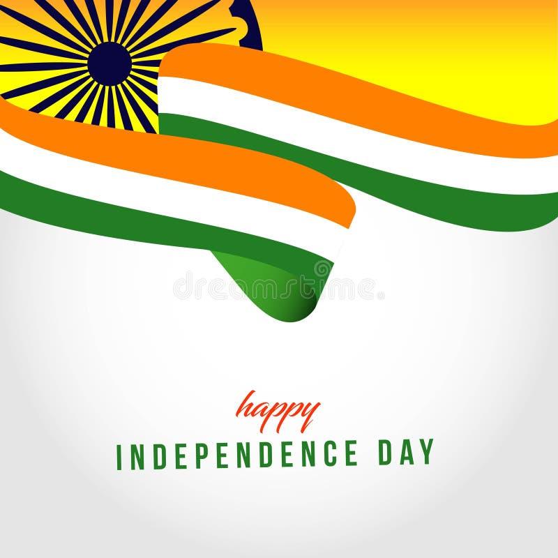 Ευτυχής της Ινδίας ανεξάρτητη απεικόνιση σχεδίου προτύπων ημέρας διανυσματική ελεύθερη απεικόνιση δικαιώματος
