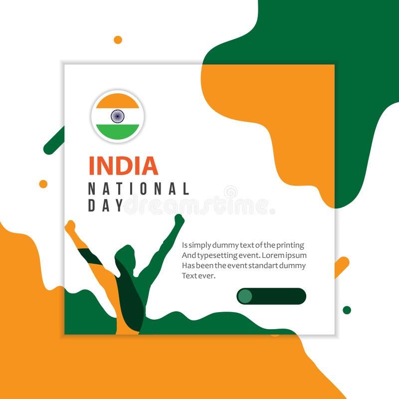 Ευτυχής της Ινδίας απεικόνιση σχεδίου προτύπων εθνικής μέρας διανυσματική διανυσματική απεικόνιση