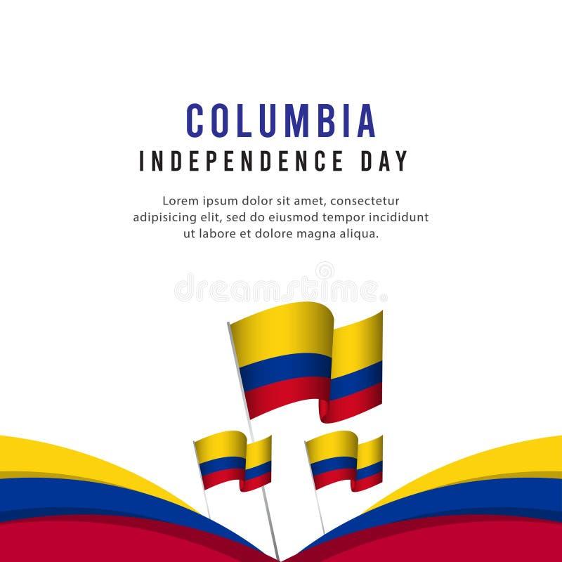 Ευτυχής της Κολούμπια ημέρας της ανεξαρτησίας εορτασμού απεικόνιση σχεδίου προτύπων αφισών διανυσματική απεικόνιση αποθεμάτων