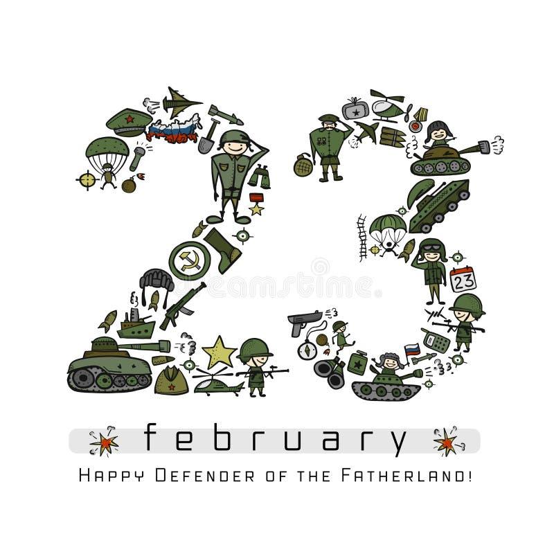 Ευτυχής υπερασπιστής της πατρικής γης Ρωσική εθνική εορτή στις 23 Φεβρουαρίου Κάρτα δώρων για τα άτομα r διανυσματική απεικόνιση