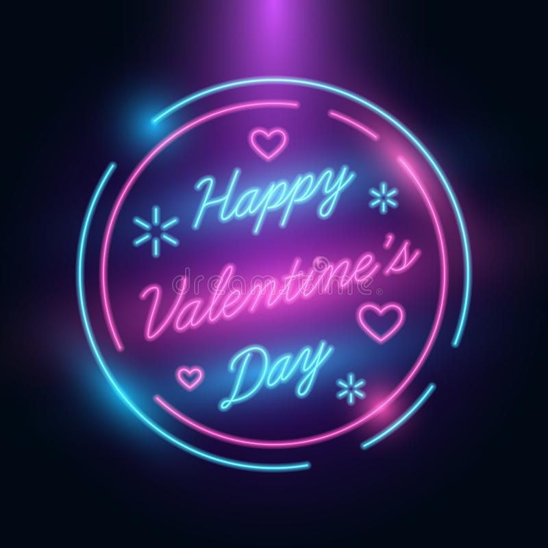 Ευτυχής χαιρετισμός ημέρας βαλεντίνων 14 Φεβρουαρίου διεθνές πρότυπο εορτασμών Αναδρομικό ύφος νέου Πυράκτωση στο σκοτάδι διανυσματική απεικόνιση