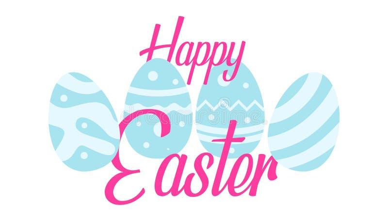 Ευτυχής χαιρετισμός Πάσχας με το υπόβαθρο αυγών διανυσματική απεικόνιση