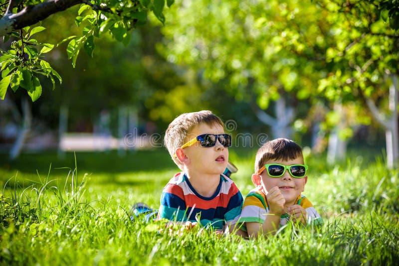 Ευτυχής χαλάρωση αδελφών αμφιθαλών αγοριών χαμόγελου στη χλόη Κλείστε επάνω την άποψη με το διάστημα αντιγράφων στοκ εικόνες