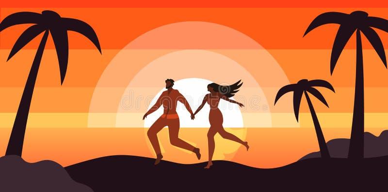 Ευτυχής χαλάρωση ζεύγους στην τροπική παραλία ηλιοβασιλέματος ελεύθερη απεικόνιση δικαιώματος