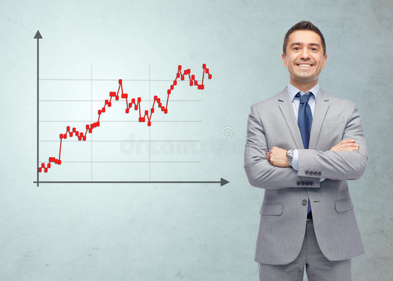 Ευτυχής χαμογελώντας επιχειρηματίας στο κοστούμι με το διάγραμμα Forex στοκ φωτογραφία με δικαίωμα ελεύθερης χρήσης