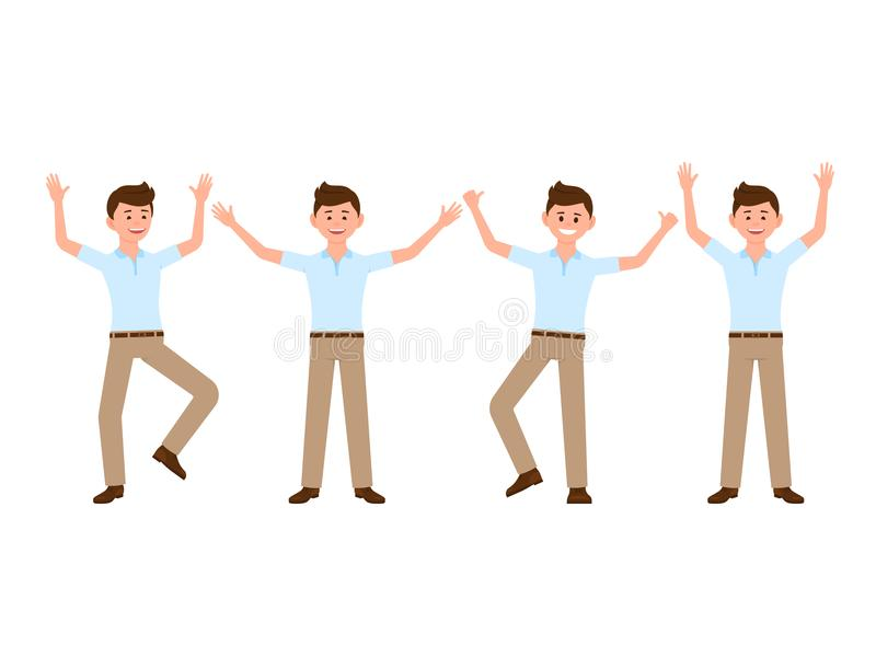 Ευτυχής χαρακτήρας κινουμένων σχεδίων διευθυντών γραφείων Διανυσματική απεικόνιση επιτυχούς, εορτασμός, πηδώντας νικητής ελεύθερη απεικόνιση δικαιώματος