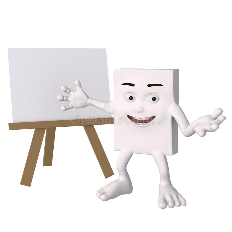 Ευτυχής χαρακτήρας με κενό easel διανυσματική απεικόνιση