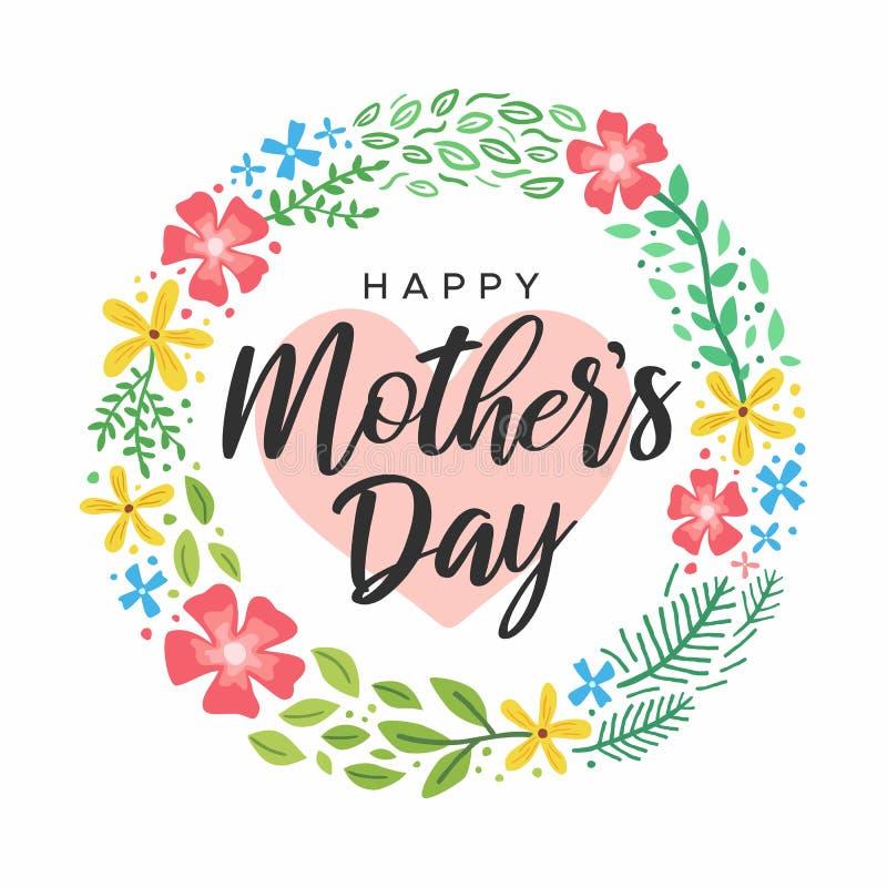 Ευτυχής χαριτωμένη κάρτα καρδιών λουλουδιών χαιρετισμών ημέρας μητέρων ελεύθερη απεικόνιση δικαιώματος