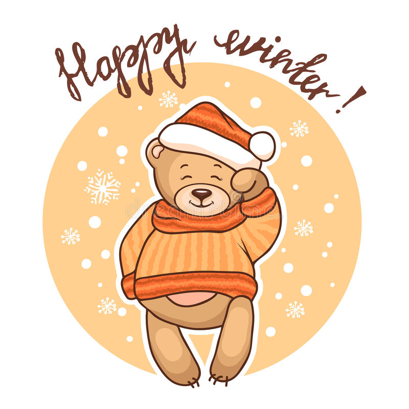 Download Ευτυχής χειμερινή ευχετήρια κάρτα Απεικόνιση αποθεμάτων - εικονογραφία από σχέδιο, καπέλο: 62702104