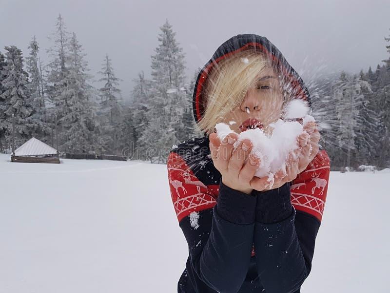 Ευτυχής χειμώνας Καλά ντυμένος απολαμβάνοντας το χειμώνα στοκ εικόνες