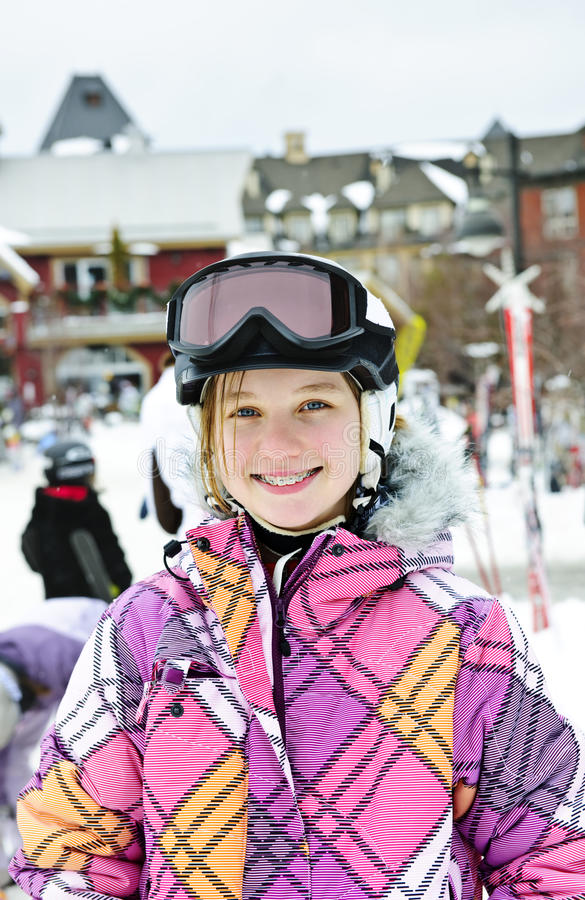 ευτυχής χειμώνας σκι θε& στοκ φωτογραφία