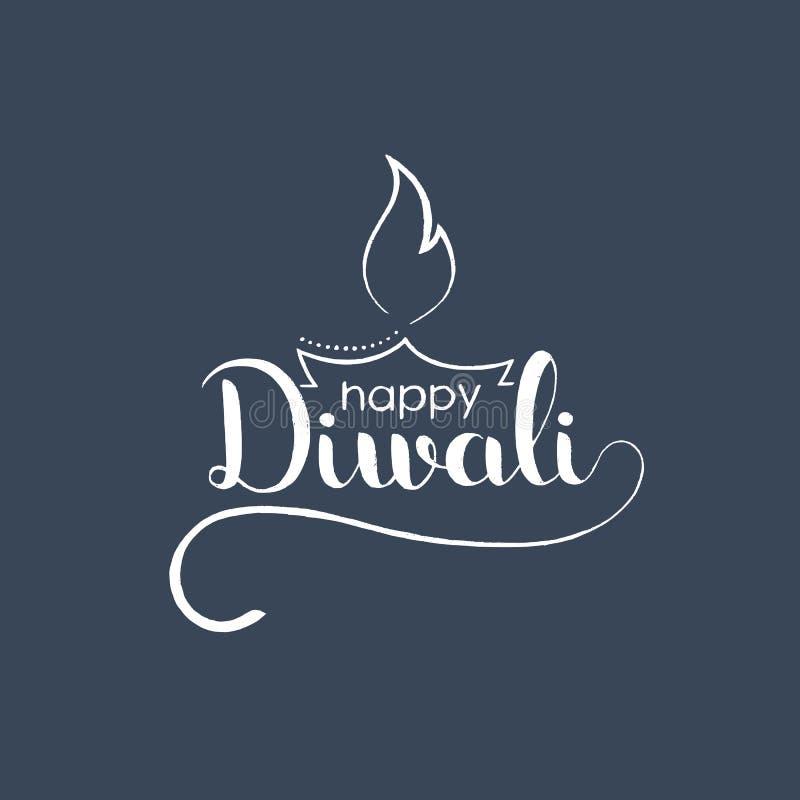 Ευτυχής χειρόγραφη εγγραφή Diwali με την ινδική ελαιολυχνία diya ελεύθερη απεικόνιση δικαιώματος
