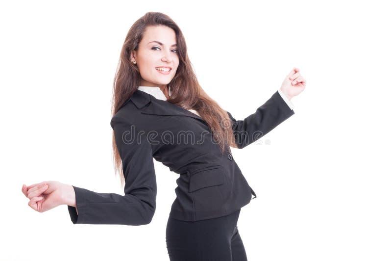 Ευτυχής χορός επιχειρησιακών γυναικών συγκινημένος και ενθουσιώδης στοκ εικόνες