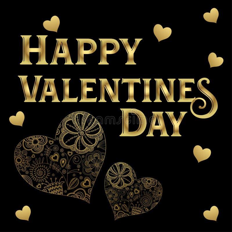 Ευτυχής χρυσός ημέρας βαλεντίνων ` s που γράφει τις χρυσές καλλιτεχνικές καρδιές που απομονώνονται στο μαύρο υπόβαθρο απεικόνιση αποθεμάτων